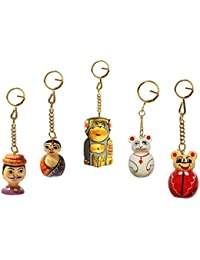 Keychains Set Of 5 Pc Painted And Carved In Solid Wood By Handicrafts Paradise