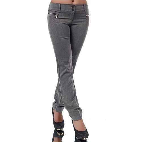 H596 Damen Business Hosen Stoffhose Bootcut Elegante Hose Classic Gerades Bein Grau