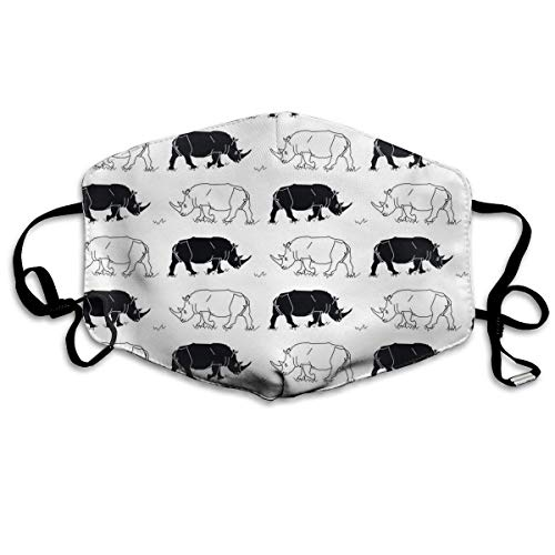 Daawqee Staubschutzmasken, Black White Rhinos Face Masks Breathable Dust Filter Masks Mouth Cover Masks with Elastic Ear Loop