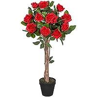 Homescapes Rosier artificiel rouge fleuri en pot 90 cm