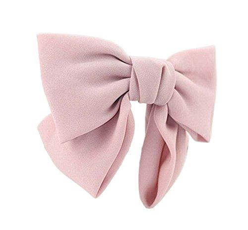 [Rose] Extrait élégant en mousseline de soie Bow Barrette Ponytail cheveux