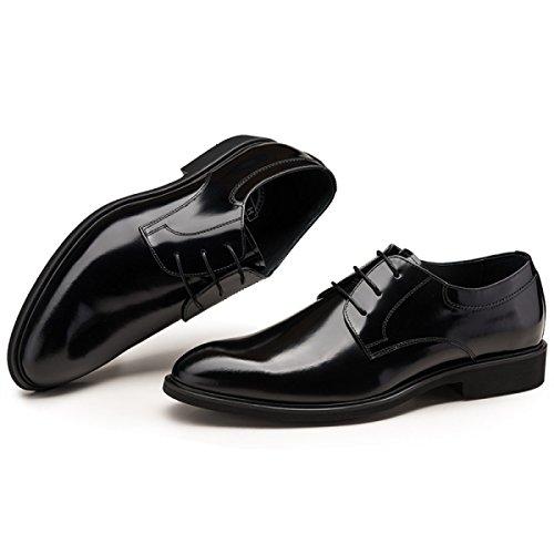 GRRONG Chaussures En Cuir Pour Hommes Appointés Banquet Daffaires Loisirs Confortable Black