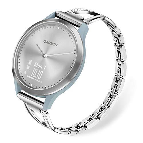 TRUMiRR Ersatz für Vivomove HR Sport Armband, Schmuck Edelstahl Uhrenarmband Strass Diamant Armband Feminines Manschetten Ersatzband für Garmin Vivomove HR Sport Nur (Nicht für Vivomove HR Premium)