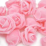 Warmiehomy Fiori Artificiali Rose di Schiuma Testa, 50Pezzi di Fiori Finti per Bouquet DIY Matrimonio, Feste, Giardino, casa, Ufficio, Halloween e Decorazioni di Natale Light Pink