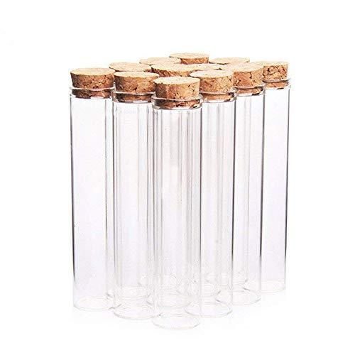 Danmu Art 12 Stücke 26 ml 2,2 x 10 cm Mini Glasflaschen Gläser test tube mit Holz Korkverschluss