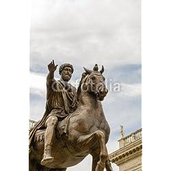 """Alu-Dibond-Bild 30 x 50 cm: """"statue of Marcus Aurelius, Campidoglio, Rome, Italy"""", Bild auf Alu-Dibond"""