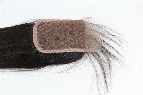 40,6 cm brésiliens vierges Fermeture dentelle cheveux soyeux droite/haut Fermeture (10,2 x 10,2 cm) couleur naturelle 120% Densité