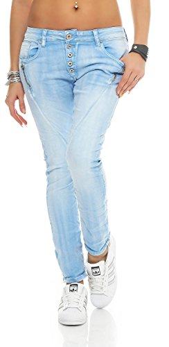 SKUTARI Damen - Jeans Boyfriend Stretch Denim Zip-Taschen , Blau , Gr. S