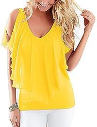 7854a4a45077 DianShaoA T Shirt Spalle Scoperte Bluse Camicie Donna Colletto A V  Camicetta Manica Corta Casual