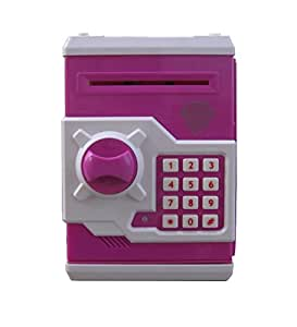 Webby Money Safe Kids Piggy Savings Bank with Electronic Lock, Blue/Pink