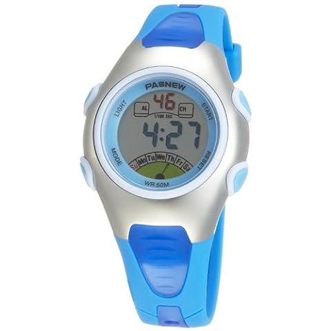 Sport Pasnew Fashion Waterproof Children Boys Girls Digital Sport Watch with Alarm, Chronograph, Date (Blue)