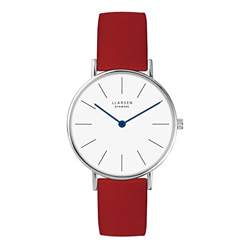 'Lars Larsen Luka Acciaio con pelle rossa 37mm Watch