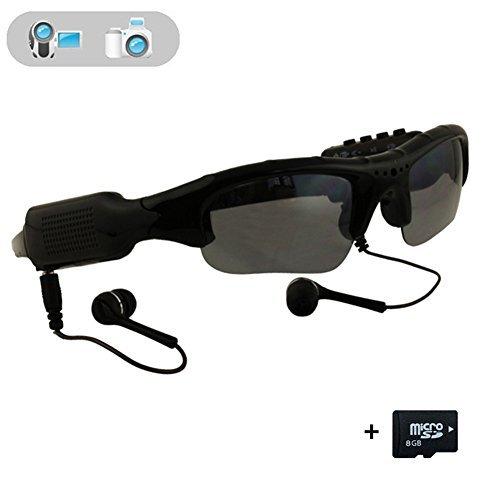 WOTUMEO Multifunktions Sonnenbrille MP3 Player Mini DV DVR Kamera Videoglas Spion Gläser Spion Kamera Fahrengläser Gläser + 8GB Speicherkarte