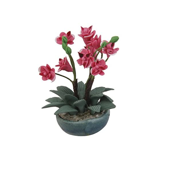 Flor de Orquídea Artificial en Arcilla Miniatura Decoración para Casa de Muñecas
