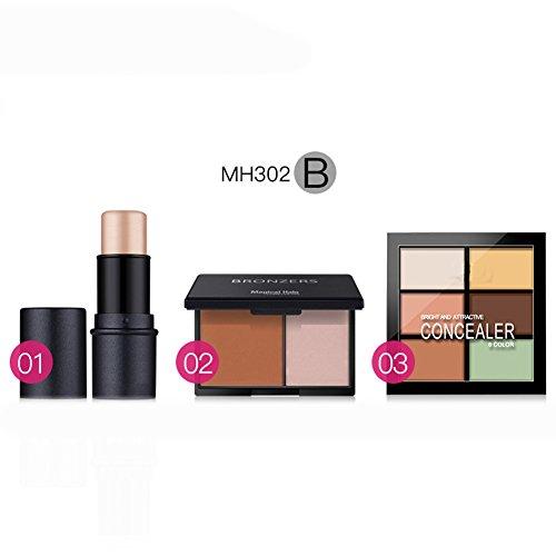 HimanJie Jeux de maquillage visage colle Double stéréo bronzante poudre 6 couleurs