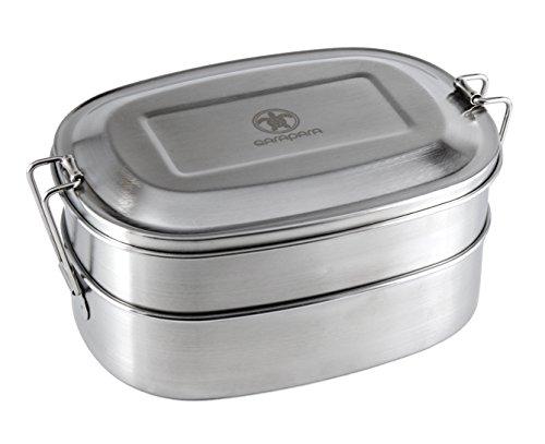 Hochwertige Edelstahl Lunchbox im Bento Box Stil mit 2 Ebenen und Unterteilung der oberen Ebene in 2 Fächer, 1000 ml, 17 x 12 x 8 cm, plastikfrei und schadstoffrei von Qarapara Bento Box Mit Zwei Ebenen