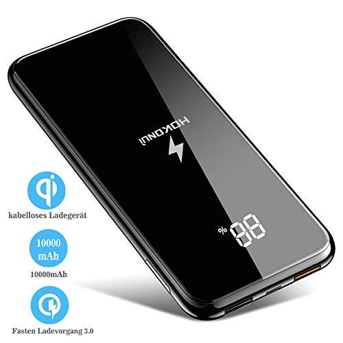 Powerbank Externer Akku10000mAh QuickCharge 3.0 Drahtloses Schnellladegerät mit Digitaler Bildschirm Handyhalter Duale Eingabe Bidirektionale Schnellladung Portable für iPhone Samsung Smartphone