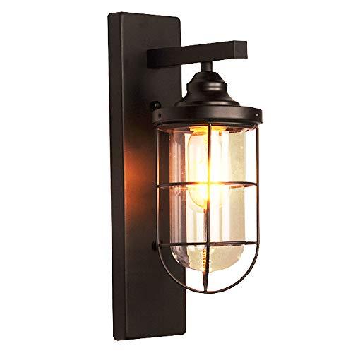 LIGUANGWEN Eisenleuchter Wandleuchte Licht Metall und Glas Lampenschirm mit Plaid Beleuchtung Innenbeleuchtung Retro Industrial Black for Wohnzimmer Schlafzimmer Flur Wandlampe -