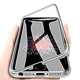 WindCase iPhone SE Funda, iPhone 5s Funda, Anti-rasguño Metal Aluminio Bumper con Magnética + Transparentee Vidrio Templado Rígida Cubierta Protectora Carcasa para iPhone 5 / 5s Plata