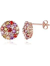Yellow Chimes Petals Cluster 18K Rose Gold Plated Multicolor Swiss Cubic Zircon Earrings for Women…