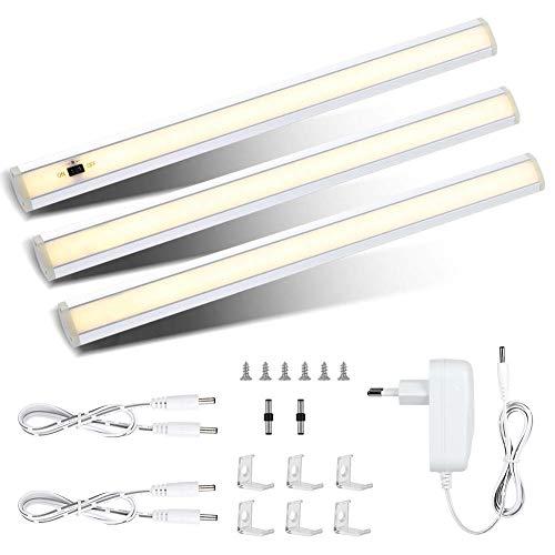 3er LED Unterbauleuchte Küche, 1200LM Warmweiß Dimmbare Schrankbeleuchtung Schrankleuchte mit Helligkeitssensor, 12W Led Sensor Schranklicht inkl Stecker und Montage-Zubehör - Schnur-dimmer Durch