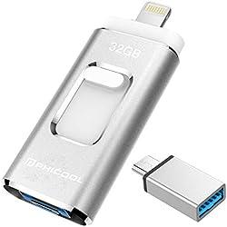 Unidad Memoria Flash USB 3.0 32 GB Memoria Lápiz Drive OTG PHICOOL [4 en 1] con Type C Conector USB Mirco Expansión de Memoria para iPhone, iPad, Android, PC - Plata