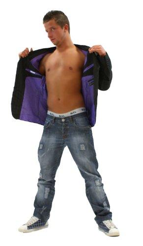 TOP Designer Blazer giacca nero/beige (003) Schwarz Beige