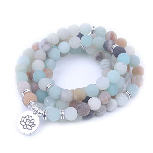 Style4-nature braccialetto in pietra naturale per yoga. om, buddha, ciondolo di loto mala 108 amazonite