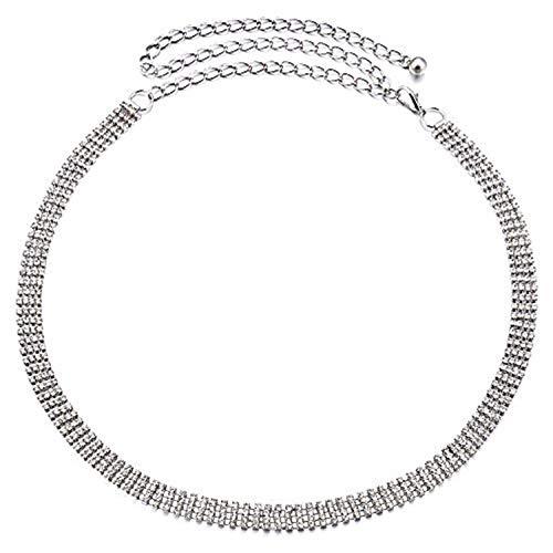 Wedding decor 112cm argento 4 row strass cintura altezza vita per donne ragazze lustrini/diamante con elegante fermaglio fibbia della accessorio alla moda festa informale e abbigliamento