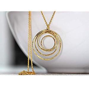 Retro, 60er, 70er Stil, filigrane Gliederkette mit Kreis-Anhänger in matt-gold, das perfekte Geschenk