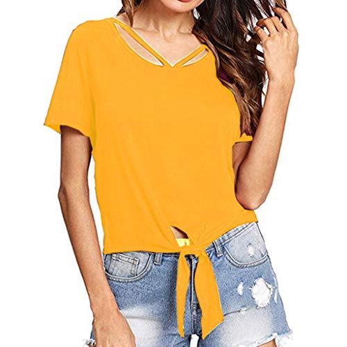 Innerternet Damen Kurzarm Krawatte Vordere Knoten Lässige Kleidung T-Shirt V-Ausschnitt T-Shir Sommer Kurzarmt