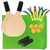 Playa Tenis Y Bádminton Raqueta Paleta Conjunto Con 5 Bolas De Pingpong 5 Volante - Verano Al Aire Libre Divertido Deportes Juegos - Juego De 2 Juegos De Madera De Cricket Para Niños Y Adultos