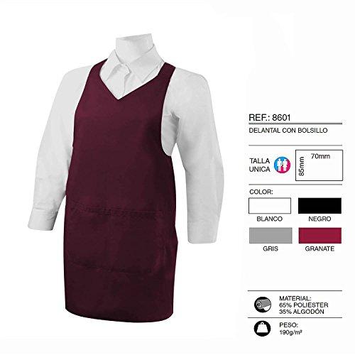 Misemiya–grembiule pulizia con tasca 85mm*70mm uniforme lavoro clinica ospedale pulizia veterinaria salute hostelería- ref.8601 granata