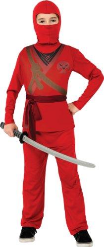 Rubies - Disfraz de ninja rojo con calavera para niño, infantil...