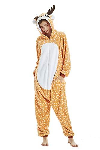 DecoBay Elch Tierkostüme Schlafanzug Overall Erwachsene Pyjamas Karneval Weihnachten Cosplay Kostüm (XL) (Erwachsene Elch-kostüm Für)