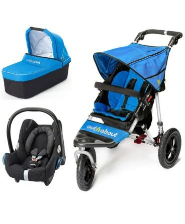 Out n About Nipper Single v4 Stroller Lagoon Blue  LATEST V4 MODEL WITH AUTO-LOCK FOLD! All-terrain 3-Wheeler pushchair, suitable for use from Birth to 4 years (approx) Multi-position adjustable backrest, including lie flat with 5-Point Safety Harness Height adjustable handles & removable, hinged bumper bar 1