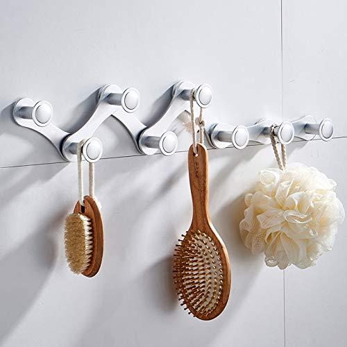 Gu3Je Bad Handtuchhalter aus Edelstahl, einziehbar, nagelfrei, an der Wand befestigbarer Kleiderhaken Silber 8Haken