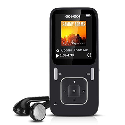 8GB Sport MP3 Player, Verlustfreier Ton Musik Player mit FM Radio 24 Stunden Wiedergabe, Unterstützt 64GB Micro SD Speicherkarte, von AGPTEK P03, Schwarz