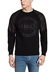 Wrangler Mens Cotton Sweatshirt (8907649215043_W248275GC44C_XL_Black)