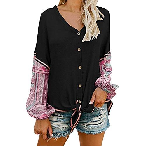 einhorn fleisch AmazingDays Damen Oberteile Langarm Zum KnöPfen Bluse Elegant Drucken Pulli Tops T-Shirt Sweatshirt Vintage Casual Pullover (Weiß, S)