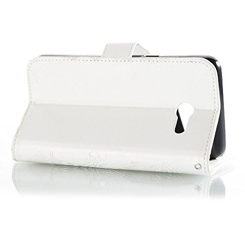EKINHUI Case Cover Horizontale Folio Flip Stand Muster PU Leder Geldbörse Tasche Tasche mit geprägten Blumen & Lanyard & Card Slots für Samsung Galaxy J5 2017 American Edition ( Color : Darkblue ) White