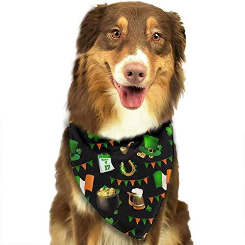 Wfispiy St. Patrick's Day Irish Muster Double Cotton Puppy Bandana Lätzchen Dreieck Schals Halstuch