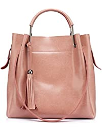 Realer Leather Handbags Purse Large Capacity Totes Shoulder Bags With Tassels For Women Pink