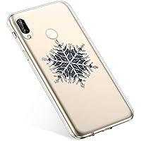 Uposao Handyhülle Weihnachten Huawei P Smart Plus TPU Silikon Schutzhülle Weich Transparent Kristall Klar Dünn Handyhülle Backcover TPU Bumper Case Handytasche,Schneeflocken Baum