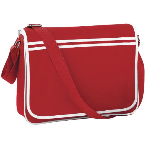 Bagbase - Borsa Messenger stile retrò - 12 Litri Rosso/Bianco