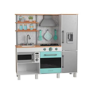 KidKraft- Gourmet Chef Play Kitchen with EZ Kraft Assembly, Color Gris (53421)