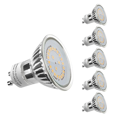 LE 5er GU10 LED Lampen, ersetzt 50W Halogenlampen MR16 3.5W Warmweiß 3000K 120° Abstrahwinkel LED Birnen Leuchtmittel 350lm