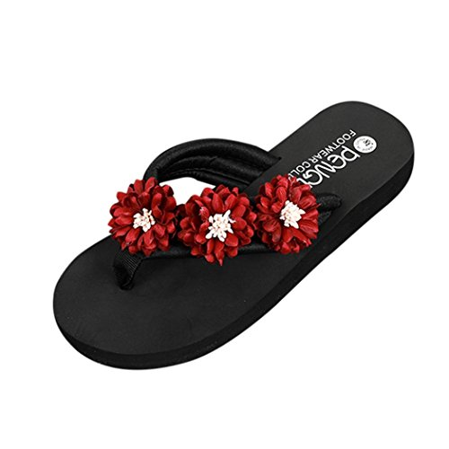 Damen Flip Flops, Xinan Sommer Mode Flach Boden Keilabsatz Slipper Frauen Casual Elegant Outdoor Innen Blume Hausschuhe Flip Flops Strandschuhe Badeschuhe Zehentrenner Schuhe (EU:39, Rot) -