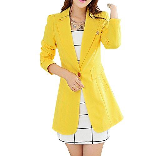Aisuper - Chaqueta de traje - Manga Larga - para mujer amarillo amarillo XXL