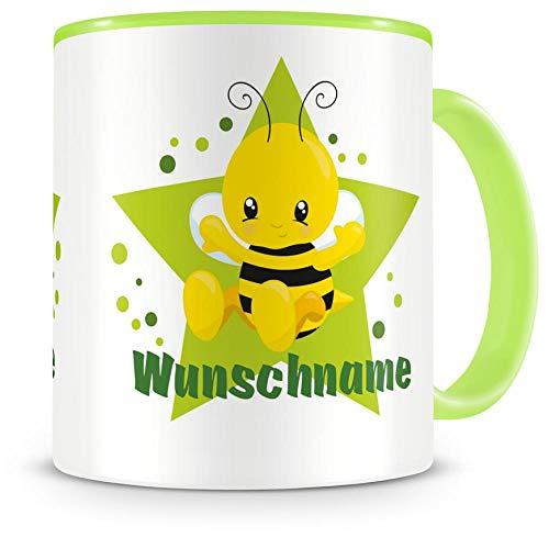 Samunshi Kinder-Tasse mit Namen und süßer Biene als Motiv Bild Kaffeetasse Teetasse Becher...